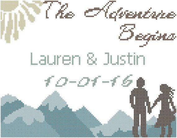 Modern Wedding Cross Stitch Pattern The Adventure Beings
