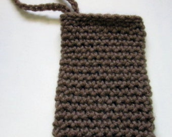 Brown Cell Phone Tote, Cellphone Case, Wrist Strap, Camera Tote, Case, Crochet, Handmade, Small Tote, Bag Holds Samsung, iPhone,Blackberry