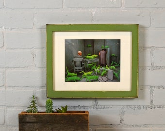 8.5 x 11 Picture Frame in 1x1 Flat Style with Super Vintage Guacamole Green Finish - IN STOCK Same Day Shipping - 8.5x11 inch Picture Frame