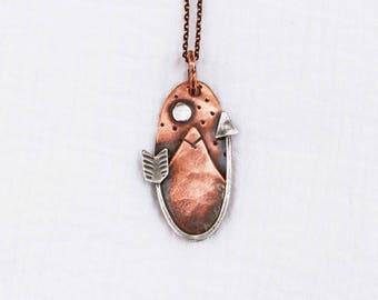 Oval Mountain Scene/ Arrow Necklace