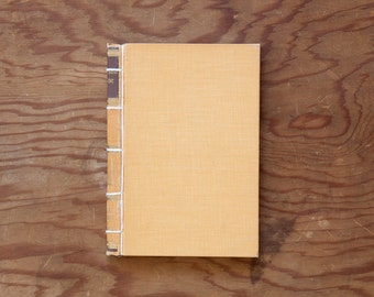 Robinson Crusoe, illustrated // yellow handmade journal // hard bound journal