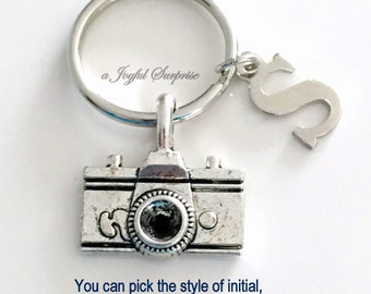 Camera Keychain, Photographer's Key Chain Keyring Gift for Photography Student Graduation initial letter custom for men female photo him her