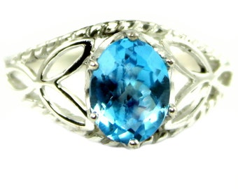 Swiss Blue Topaz, 925 Sterling Silver Ring, SR137