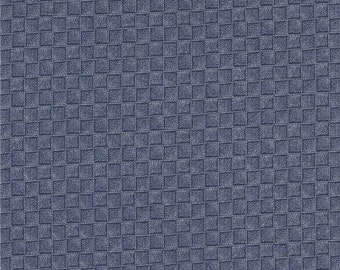 211675 dark blue fabric with square tan tiny dot design by Timeless Treasures