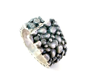 Men's Jewelry, Men's Ring, Sterling Silver Pebble Men's Ring, Father's Day Ring, Men's Wide Ring, Unique Men's Ring, Rustic Oxidized Silver