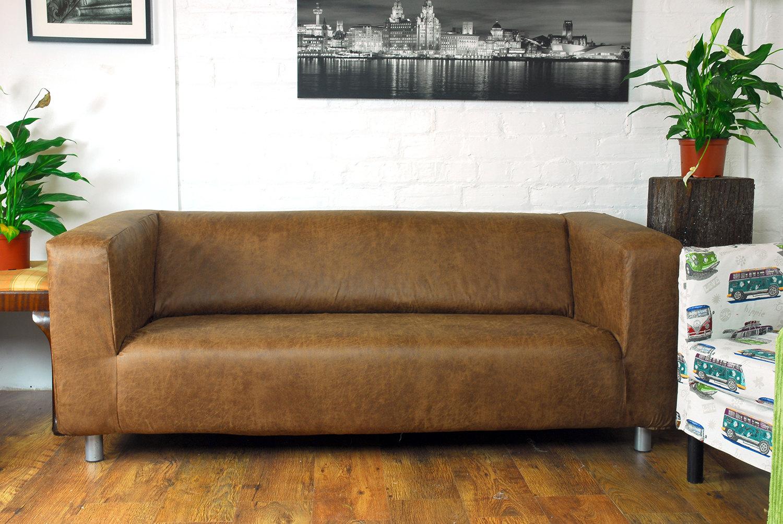 Ikea Klippan 2 seat slip cover Distressed Leather Look fabric