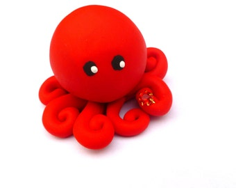 Birthstone  Little Octopus Mini Marble Friend in Birthday Month of July Ruby Bright Red with Faux Gemstone