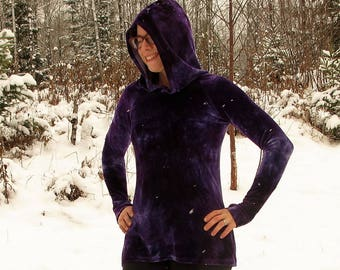 Thumbhole Hoodie, Velour Hoodie, Hoodie with Thumb Holes, Hooded Tunic, Bamboo Velour Clothing, Organic Tunic, Made to Order