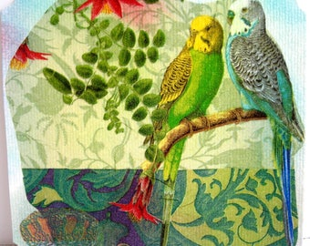 Post card and matching envelope collages and pastel. Pretty birds.