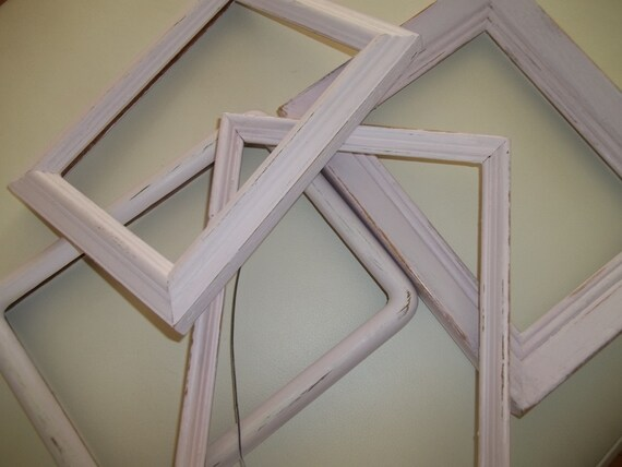 Painted Picture Frame Set of 4 ~ Pink Chalk Paint Frames ~ Open Back ...