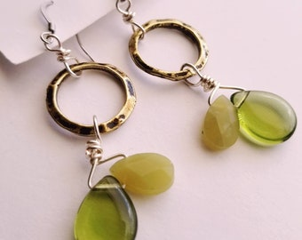 Olive earrings, teardrop earrings, glass drops with gold hammered rings, jade teardrops, gemstone jewelry, earrings, gifts for her, green