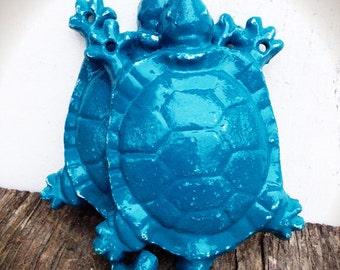 BOLD deep teal blue set of garden turtles wall hooks // coat towel hook // shabby chic rustic // woodland garden ornate animal hooks