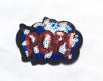 New POP Sequin  Iron-On Appliqué Patch Motif DIY