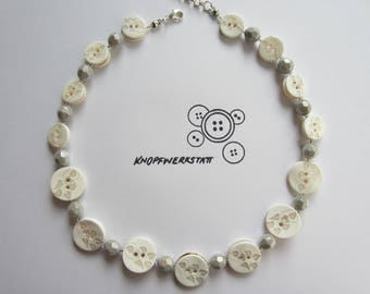 Pearl Necklace, button chain, chain with beads and buttons, buttons, Perlonkette, statement Necklace, button, Buttonnecklace,