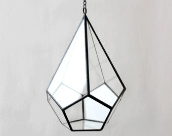 Teardrop Planter, Hanging terrarium, Geometric Terrarium Container, Handmade Glass Terrarium, Stained Glass Terrarium, Hanging garden