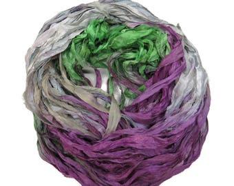 New! Sari Silk Ribbon, 100g ,Grey/purple/Green