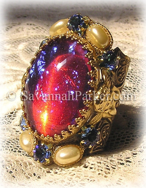 Antique Style Victorian Edwardian Fantasy Dragons Breath Angels Vintage Art Glass Ring - Dragons Breath Jewelry