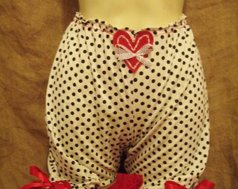 Cute,white/black polka dot 'above the knee' bloomers with red lace,bows and heart! Pin-up,burlesque,boudoir,vintage,1950's,VictorianWildWest