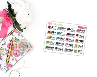 QUARTER SHEET - Hello Morning Planner Stickers for the Erin Condren Life Planner, Script Sticker, Script Planner Sticker - [P0890]