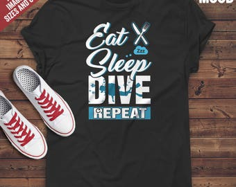 Eat Sleep Dive Repeat T-Shirt - Perfect Tee-Shirt for funny diver, diving lover, scuba diving instructor
