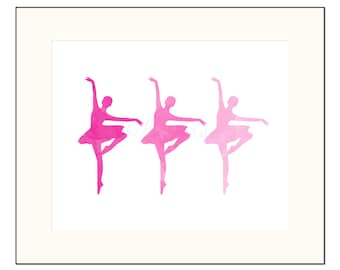 Pink Ballerina Art Pink Ombre Dancer Wall Art Pink Watercolor Baby Shower Gift for Her Home Decor Minimalist Nursery Art Gift for Daughter