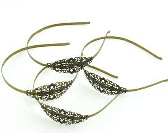 Filigree Flower Headband Metal Bronze Hair Band 35x75mm ---J200078