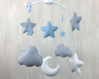 Baby mobile - moon mobile - star mobile - cloud mobile - moon, clouds and stars - crib mobile - nursery - ceiling mobile