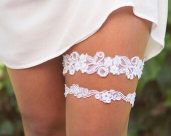 Garter, Garter Set, Wedding Garter, Bridal White Garter, Wedding Garter Set, Pearls Sequins Garter, Toss Garter