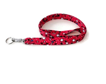 USA Lanyard, ID Holder, Fabric Keychain Lanyard, Patriotic Red, White and Blue Stars, 4th of July Lanyard, Womens Gift, Mens Gift