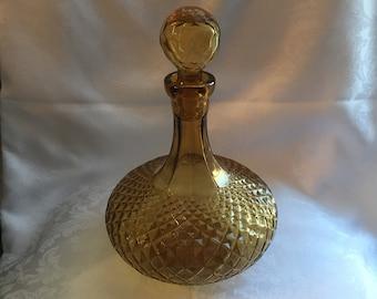 Vintage marigold / amber glass decanter