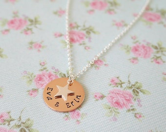 Hand Stamped Mothers Necklace, Unique Mothers Day Gift for Her, Childrens Names, Family Necklace,Personalized Jewellery,Sterling Silver Star