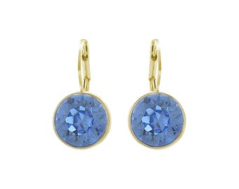 Baby Crystal Bella  Round Light Sapphire Earrings with SWAROVSKI Crystals