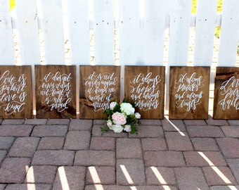 Wedding Aisle Signs, Hand Painted 1 Corinthians 13 Signs, Rustic Wedding Signs, Set of 6, Love Is Patient, Ceremony Aisle NP1