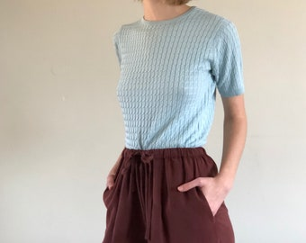 short sleeve cable knit sweater / pale blue silk sweater / simple silk top | XS S