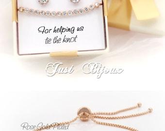 Wedding Earrings Bracelet Rose gold plated Zirconia Bridesmaid Earrings Bridesmaid Bracelet Wedding Jewelry Bridal Jewelry Bridesmaid Gift