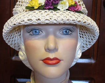 Vintage Adorable Open Weaved Straw with Millinery Flowers Rolled Brim Cloche Hat
