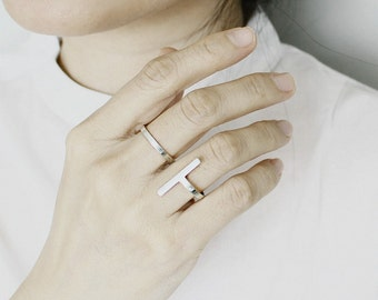 Silver Double Rings- Minimalist Modern Ring- Double Finger Ring- Bar Ring- Dual Ring- Two Finger Ring- Open Ring- Unique Bar Jewelry- Gift