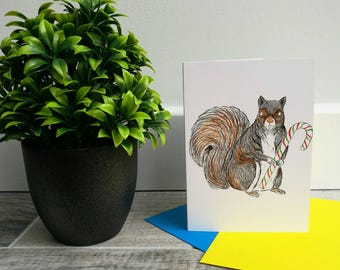 A6 Squirrel Christmas Card - christmas - squirrel - greetings card - illustration - art