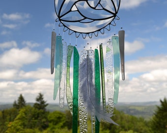 Stained Glass Windchime, Green