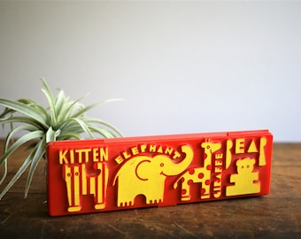 Vintage Childrens Pencil Box 1970s 1980s Red & Yellow Plastic Kitten Elephant Giraffe Bear Elementary School Organizer Back to School