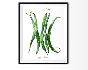Green Beans Print, Food Art, Food Illustration, Watercolor Art, Home Decor, Kitchen Decor, Kitchen Print, Food Print, Green Art, Bean Paint