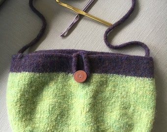 Green and purple felted purse