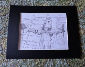 Original India Ink Drawing  Pointillism Picture 9 x 12  Airplane P 51