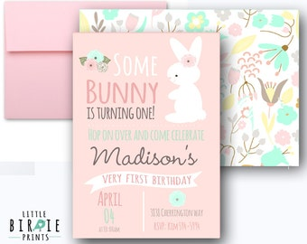 SOME BUNNY Is turning one invitations BUNNY Birthday party Invitations - Bunny first birthday party - Bunny printable invitation pink pastel