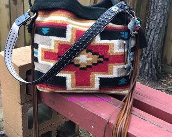 Saddle Blanket Bag, Navajo blanket, Red and Black Saddle blanket bag, Western Leather Fringe Bag, Large Southwestern tote, Long Leather Frin