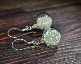 Glass earrings / lampwork earrings /silver earrings / murano glass /  blown earrings