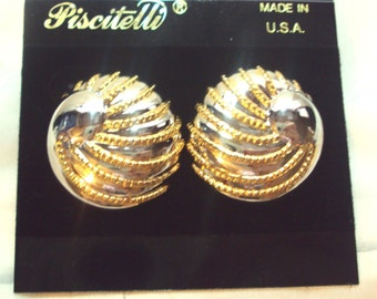 Earrings by Piscitelli Pierced Gold and Silver Toned