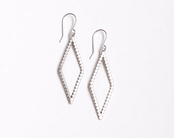 """Minimalist, modern and lightweight silver earrings in a geometric diamond shape with a lightly oxidized finish - """"Rune Earrings - Small"""""""