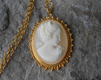 Victorian Woman Portrait Cameo Gold Plated Pendant Necklace - Unique - Vintage Look, Victorian Look - Wedding - Bridal