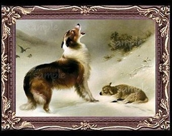 Collie Dog And The Lamb Miniature Dollhouse Art Picture 6770